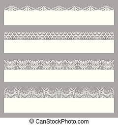 Lace borders. Set of white seamless patterns