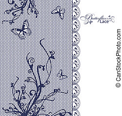 lace butterflies floral frame