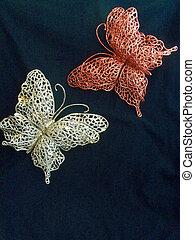 Lace butterflies on black