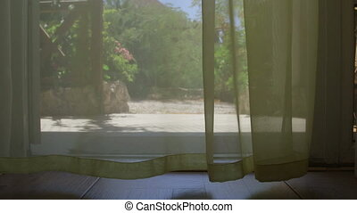 Lace curtain blowing at summer day - Lace curtain blowing in...