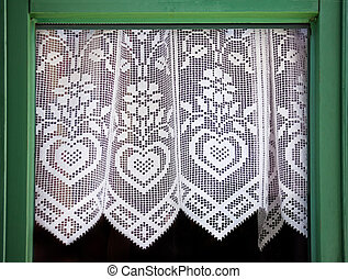 Lace curtain with a hearts