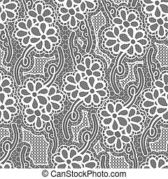 Lace dark seamless pattern with flowers on gray background