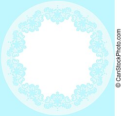 Lace doily - Blue lace doily with flowery pattern on a white...