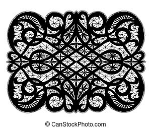 Lace doily - Black lacy doily with flowery pattern on a...