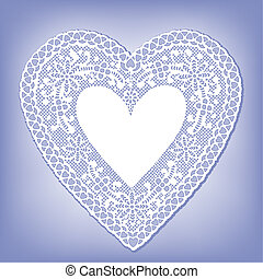 Lace Doily Heart on Pastel Blue