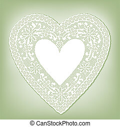 Lace Doily Heart on Pastel Green