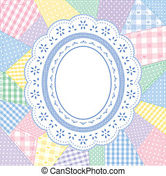 Lace Doily Patchwork Quilt Frame - Pastel gingham and polka...