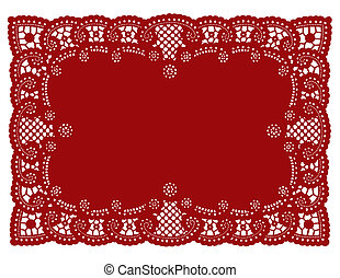 Lace Doily Place Mat - Vintage pattern red lace doily place...