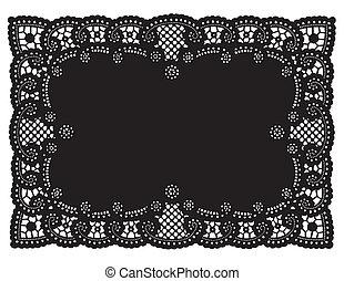 Lace Doily Place Mat - Vintage pattern black lace doily...