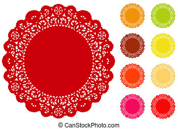 Lace Doily Place Mats, Brights - Lace Doily Place Mats, ...