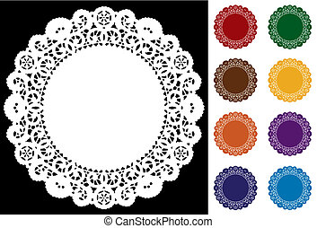 Lace Doily Place Mats in 9 vivid jewel tones for holidays, scrapbooks, setting table, cake decorating. EPS8 compatible.