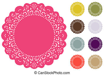 Lace Doily Place Mats, antique vintage design pattern in Pantone fashion color palette: honeysuckle, bamboo, cedar, coffee, orchid, quarry, phlox, ember glow, nougat. For setting table, cake decorating, holidays, crafts, scrapbooks, albums, copy space. EPS8 compatible.