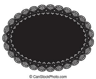 Lace Doily Placemat, Black - Vintage filigree lace doily for...