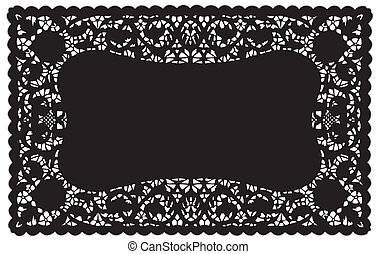 Lace Doily Placemat - Vintage pattern black lace doily place...