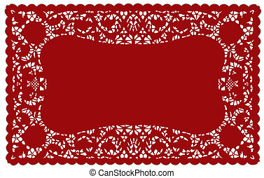 Lace Doily Placemat - Vintage pattern red lace doily place...