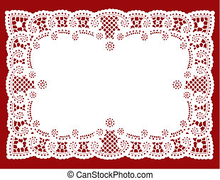 Vintage white lace doily place mat for setting table, cake decorating, celebrations, holidays, scrapbooks, copy space.