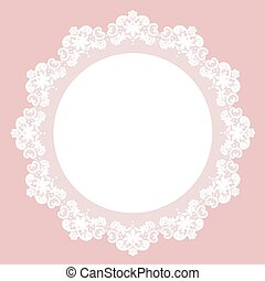 Lace doily - White lace doily with flowery pattern on a pink...