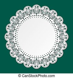 Lace Doily with spiders and pumpkins. Halloween. Place Mat, ...