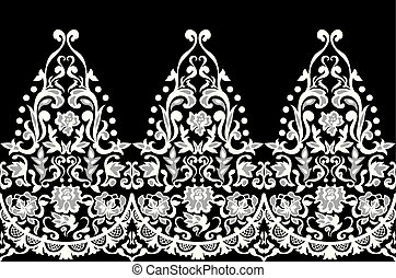 Lace elegant seamless baroque pattern vector. Embroidery design. Luxury style