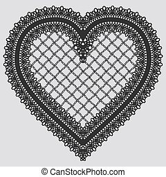 Lace element in the form of heart.