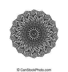 Lace embroidery round ornament