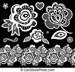 lace embroidery design elements with abstract flowers on black background