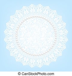 lace fabric doily and pearls