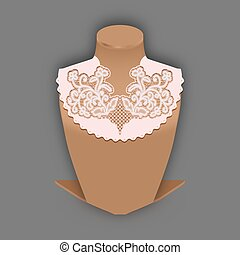 Lace fabric element with openwork flowers on Stand dummy....