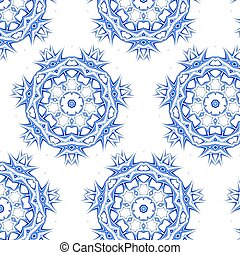 Lace floral colorful ethnic ornament seamless pattern -...