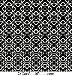 Lace floral seamless pattern. Vector black and white lacy backgr