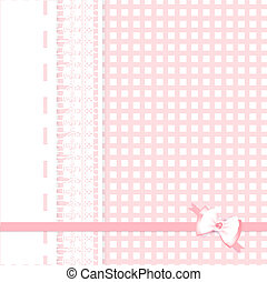 lace frame at plaid fabric background - lace frame with bow...