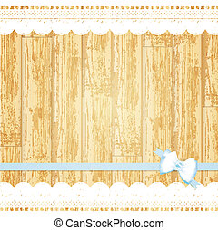 lace frame at wooden background - lace frame with bow at...