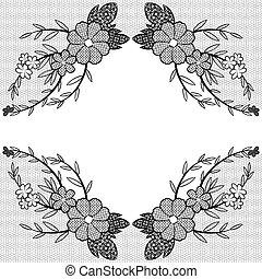 lace frame - Elegance black lace floral frame.