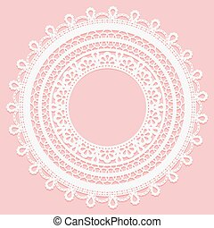 Lace frame on a pink background. Delicate round doily.