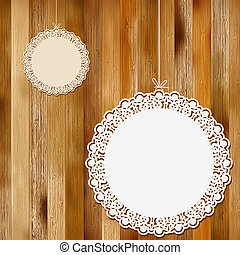 Lace frame on wooden background. + EPS8