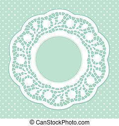 Lace Frame, Polka Dot Background - Vintage Lace Doily...