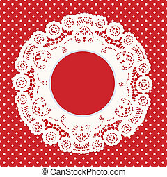 Lace Frame, Red Polka Dot Background