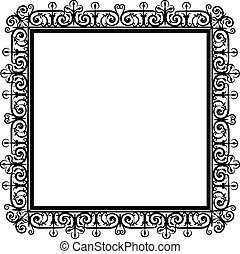 lace frame - Elegant black lace frame on a white background