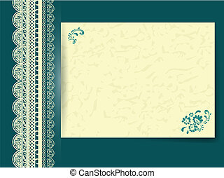 lace frame with floral decorated paper at dark turquoise...