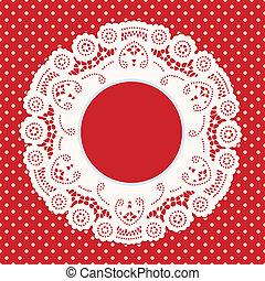 Lace Frame,Red Polka Dot Background - Vintage Lace Doily...