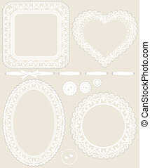 Lace frames and other design elements for invitations, scrap...