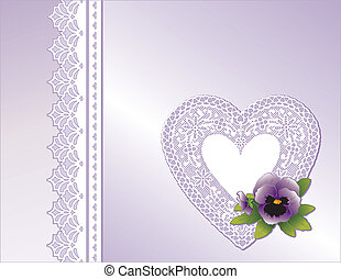 Lace Heart, Lavender Satin, Pansy