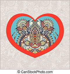 heart shape with ethnic floral paisley design for Valentine day,