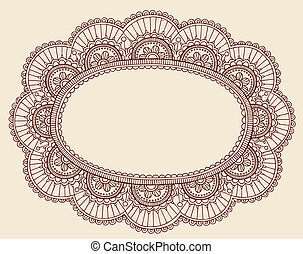 Lace Henna Doodle Frame Vector