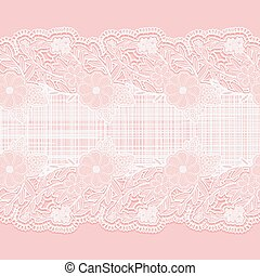 Lace horizontal seamless ribbon with cloth for design. White floral pattern on a pink background.