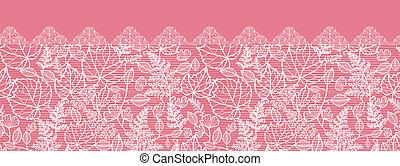 Lace leaves horizontal seamless pattern background border