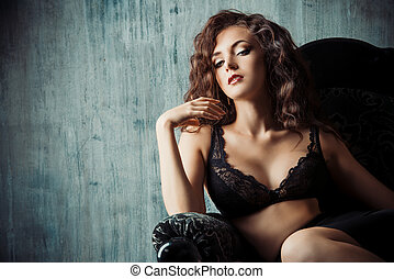 lace lingerie - Portrait of a beautiful young woman alluring...