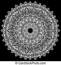 lace., modèle, arrière-plan., vecteur, noir, oriental, blanc, mandala, arabe