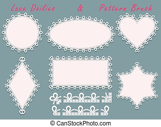 Lace napkins with decorative border various forms and pattern brush.