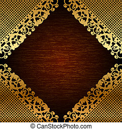 lace on wooden background - Vector illustration of gold lace...
